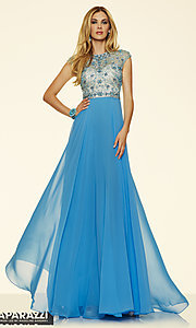 Illusion Sweetheart Chiffon Prom Dress by Mori Lee