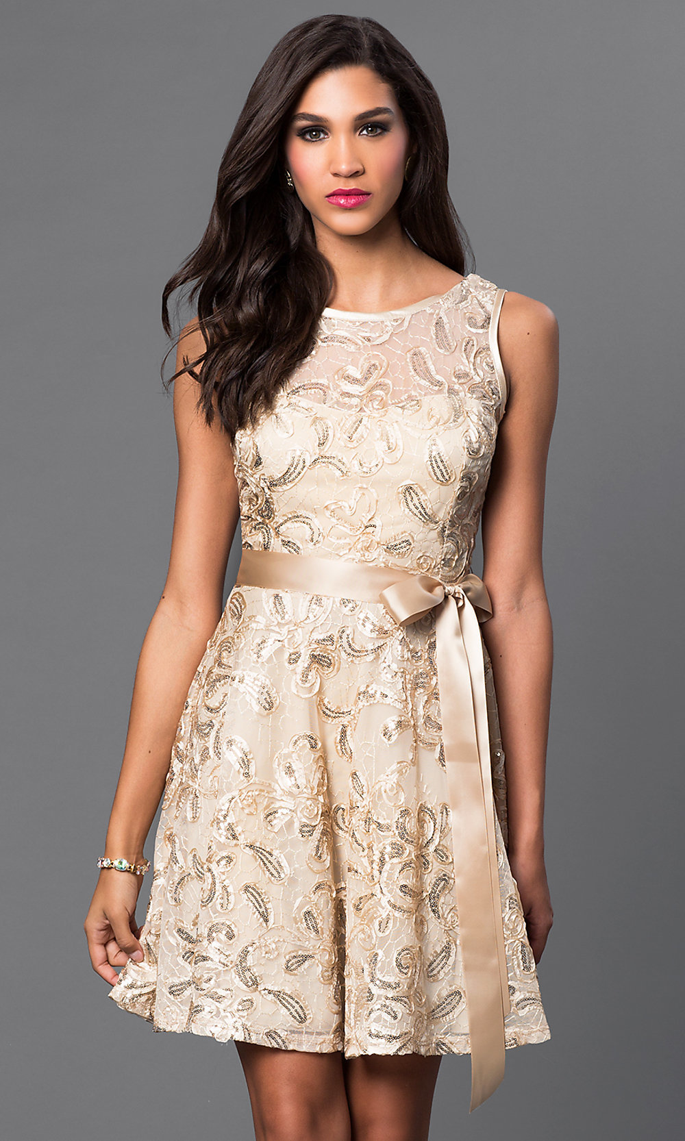 Sleeveless Short Lace Party Dress- PromGirl