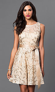 Image of short sleeveless sequin-lace dress with bow  Style: SF-8816 Detail Image 3