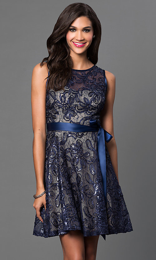 Image of short sleeveless sequin-lace dress with bow  Style: SF-8816 Front Image