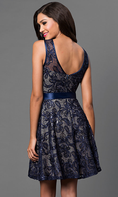 Image of short sleeveless sequin-lace dress with bow  Style: SF-8816 Back Image