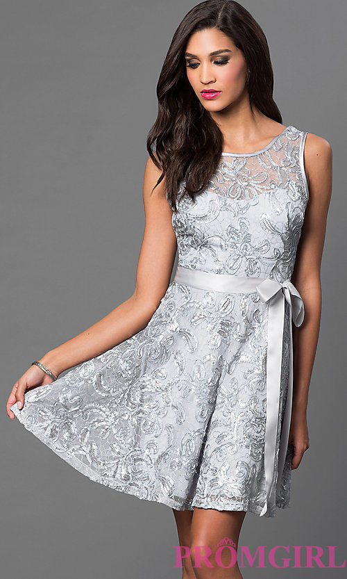 Image of short sleeveless sequin-lace dress with bow  Style: SF-8816 Detail Image 2
