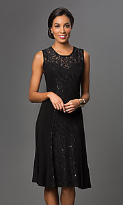 Image of knee-length Sally Fashion lace-embellished dress. Style: SF-8807 Front Image