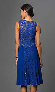 Image of knee-length Sally Fashion lace-embellished dress. Style: SF-8807 Back Image