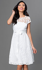 Knee Length Short Sleeve Lace Dress by Sally Fashion