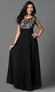Floor Length V-Back Lace Bodice Dress