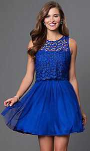 Image of open-back sleeveless lace-top prom dress  Style: MO-11897 Front Image