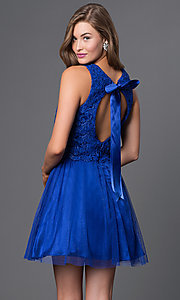Image of open-back sleeveless lace-top prom dress  Style: MO-11897 Back Image
