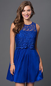 Image of open-back sleeveless lace-top prom dress  Style: MO-11897 Detail Image 1