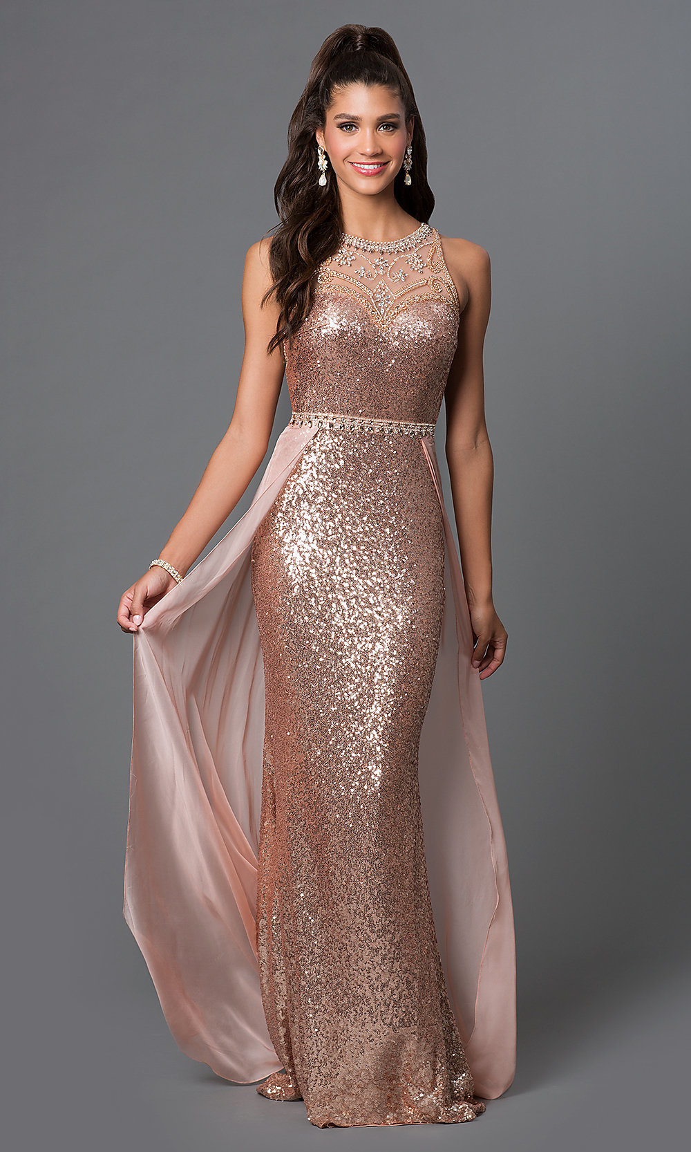 Elizabeth K Designer Sequin Long Prom Dress-PromGirl