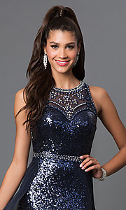 Image of long sequin designer prom dress by Elizabeth K. Style: FB-GL1400 Detail Image 3