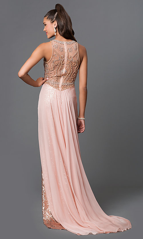 Image of long sequin designer prom dress by Elizabeth K. Style: FB-GL1400 Back Image