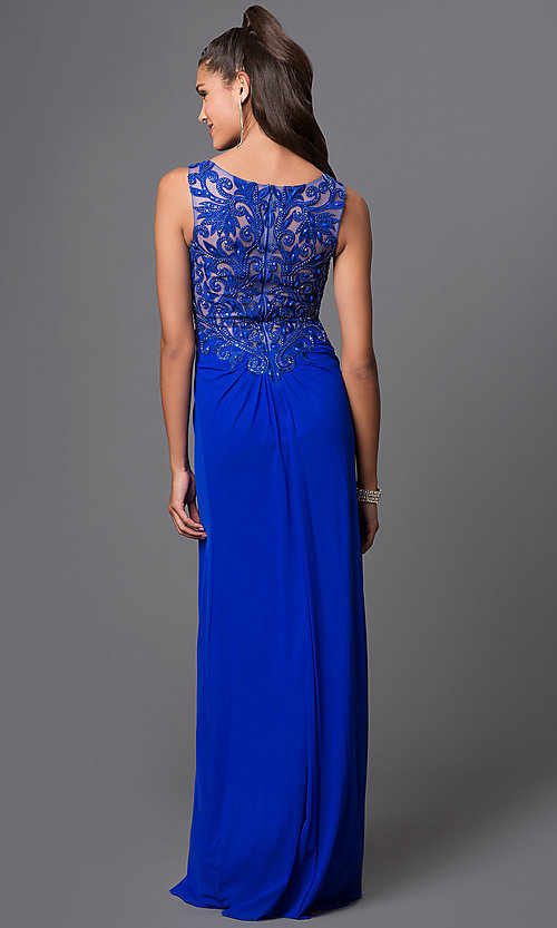 Image of long Elizabeth K sleeveless dress with lace. Style: FB-GL1377X Back Image