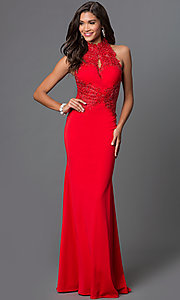 Image of lace-embellished open-back gown by Elizabeth K Style: FB-GL1356P Front Image
