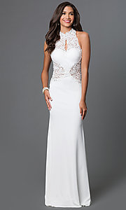 Image of lace-embellished open-back gown by Elizabeth K Style: FB-GL1356P Detail Image 3