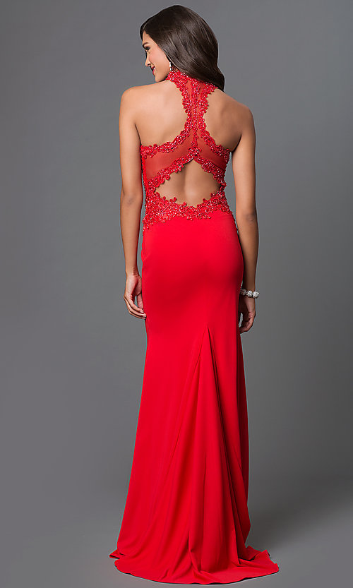 Image of lace-embellished open-back gown by Elizabeth K Style: FB-GL1356P Back Image