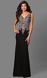 Image of lace-embellished black evening dress by Elizabeth K. Style: FB-GL1351P Front Image