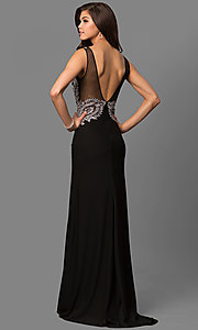 Image of lace-embellished black evening dress by Elizabeth K. Style: FB-GL1351P Back Image