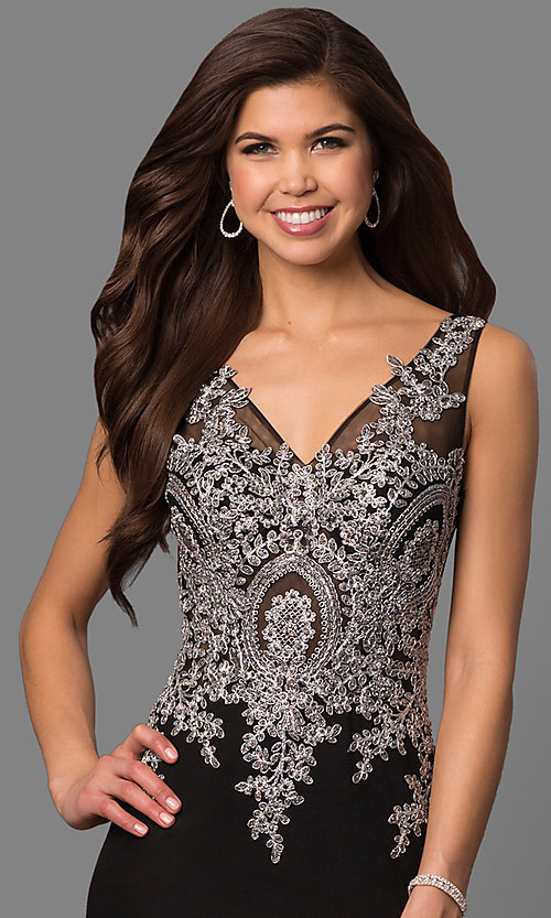Image of lace-embellished black evening dress by Elizabeth K. Style: FB-GL1351P Detail Image 1