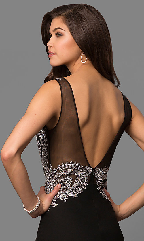 Image of lace-embellished black evening dress by Elizabeth K. Style: FB-GL1351P Detail Image 2