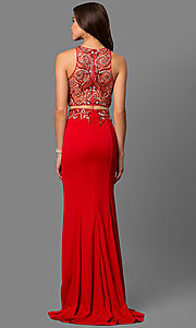 Image of long mock-two-piece dress Style: FB-GL1338D Back Image