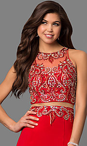 Image of long mock-two-piece dress Style: FB-GL1338D Detail Image 1