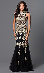 Image of long lace embroidered formal dress by Elizabeth K. Style: FB-GL1365P-G Front Image