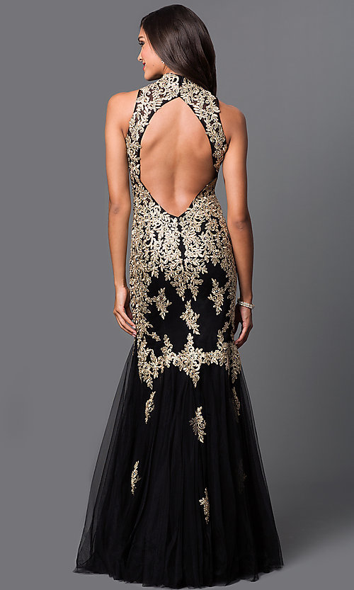 Image of long lace embroidered formal dress by Elizabeth K. Style: FB-GL1365P-G Back Image