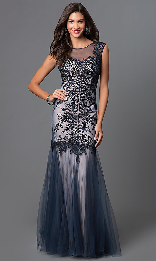 Image of embroidered long prom dress by Elizabeth K. Style: FB-GL1309H Front Image
