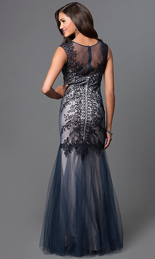 Image of embroidered long prom dress by Elizabeth K. Style: FB-GL1309H Back Image