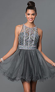 Image of short A-line high neck bead embellished bodice open back dress Style: FB-GS1311 Front Image