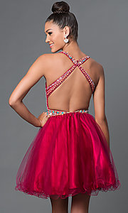 Image of short A-line high neck bead embellished bodice open back dress Style: FB-GS1311 Back Image