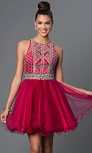 Image of short A-line high neck bead embellished bodice open back dress Style: FB-GS1311 Detail Image 1