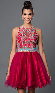 Image of short A-line high neck bead embellished bodice open back dress Style: FB-GS1311 Detail Image 2