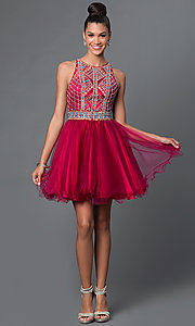 Image of short A-line high neck bead embellished bodice open back dress Style: FB-GS1311 Detail Image 3