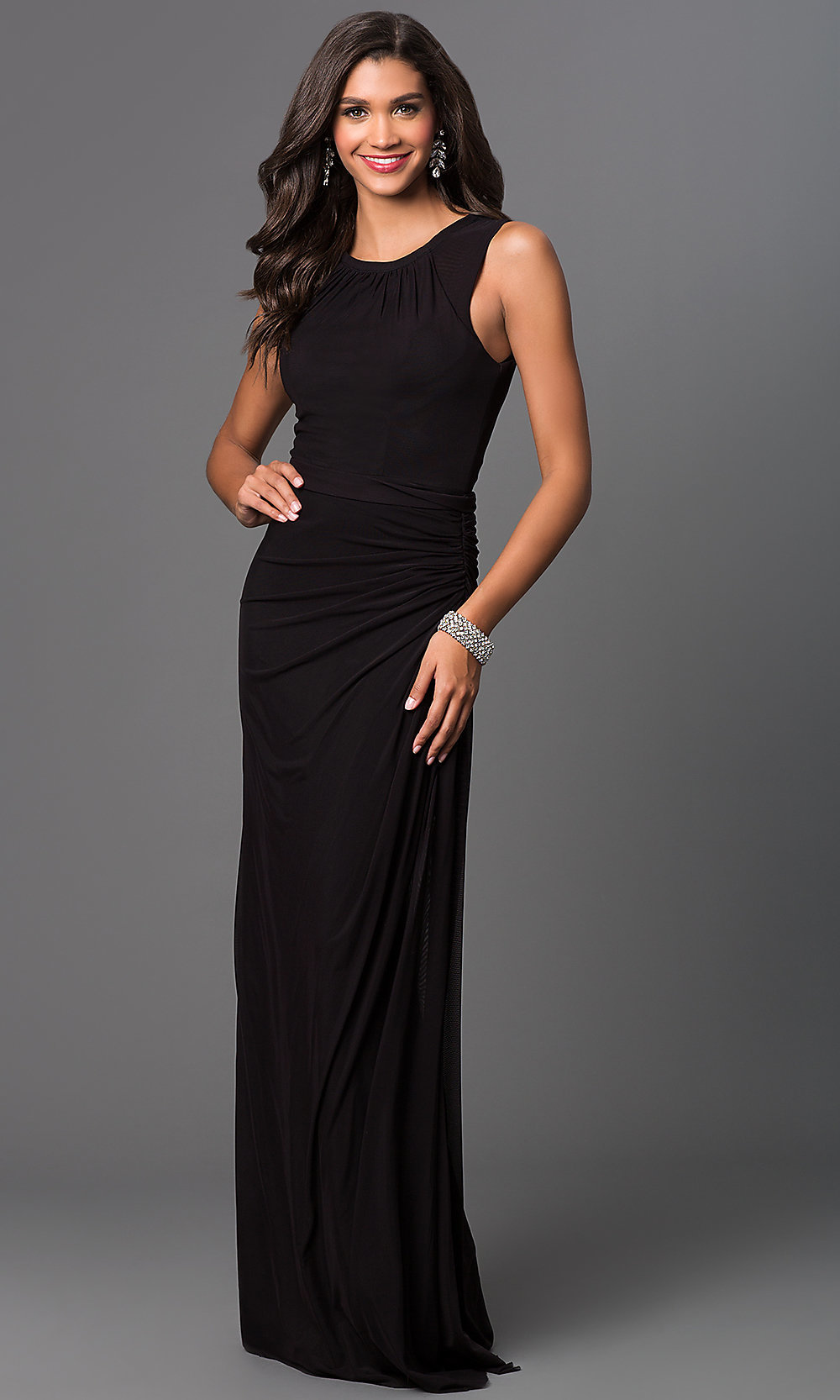 Sleeveless Long Ruched Prom Dress Promgirl