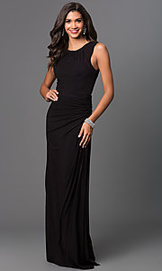 Image of long sleeveless floor length ruched dress Style: FB-GL1395Y Front Image