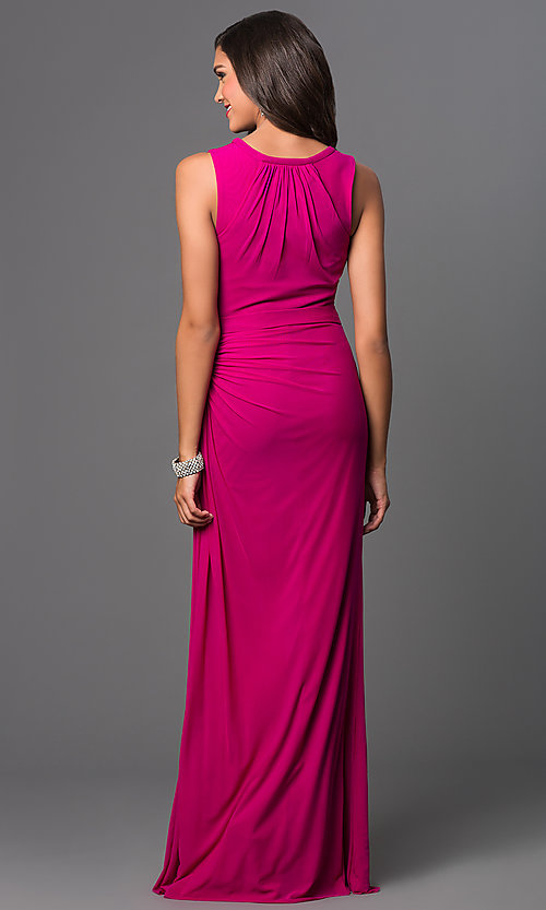 Image of long sleeveless floor length ruched dress Style: FB-GL1395Y Back Image