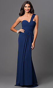 Long One Shoulder Ruched Sweetheart Dress by Elizabeth K.