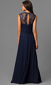 Image of long sleeveless lace-back dress Style: FB-GL1376P Back Image