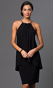 Image of knee-length sleeveless halter-top popover dress Style: SD-S273490 Front Image
