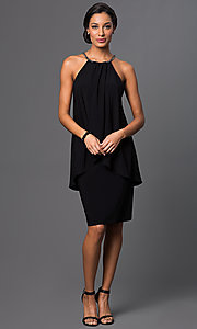 Image of knee-length sleeveless halter-top popover dress Style: SD-S273490 Detail Image 2