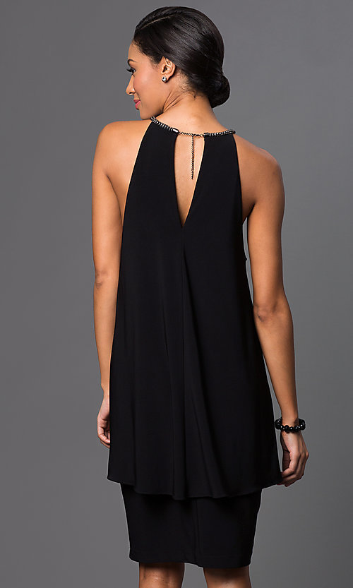 Image of knee-length sleeveless halter-top popover dress Style: SD-S273490 Back Image