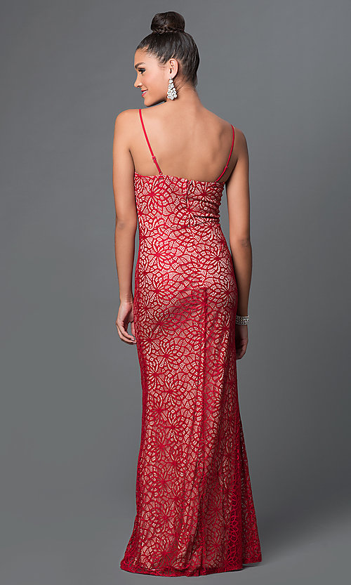 Image of long lace spaghetti-strap sweetheart dress Style: LP-23131 Back Image