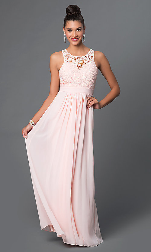Image of sleeveless floor length lace bodice open back dress Style: LP-22620 Detail Image 2