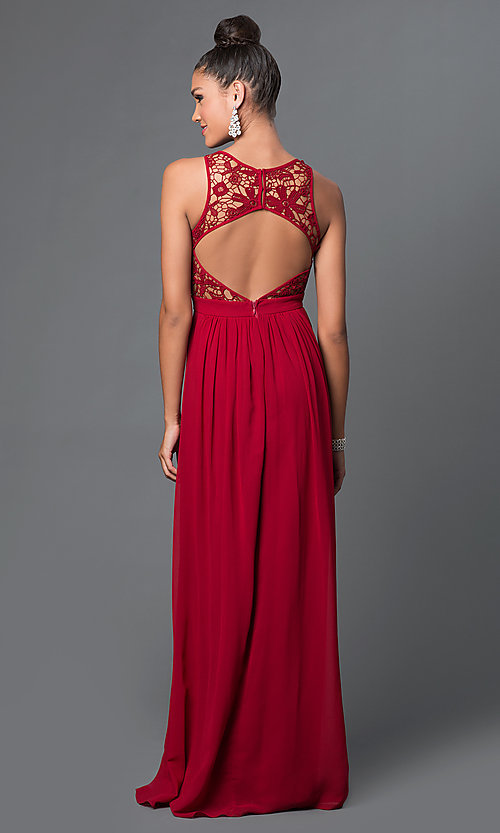 Image of long scoop-neck lace-bodice dress Style: LP-22620 Back Image