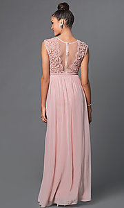 Image of illusion-lace sweetheart floor-length formal dress. Style: LP-23387 Back Image