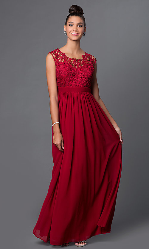 Image of illusion-lace sweetheart floor-length formal dress. Style: LP-23387 Front Image