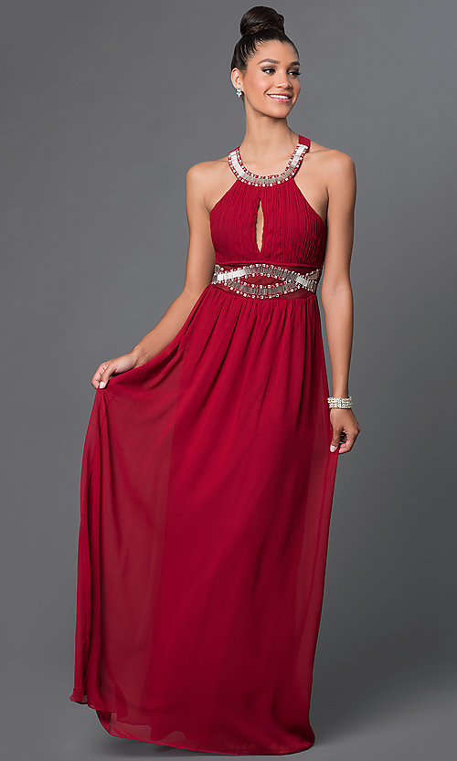Image of sleeveless scoop-neck dress with adjustable straps Style: LP-23071 Front Image