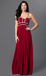 Image of long spaghetti-strap empire-waist glitter-accent sweetheart dress Style: LP-23316 Front Image